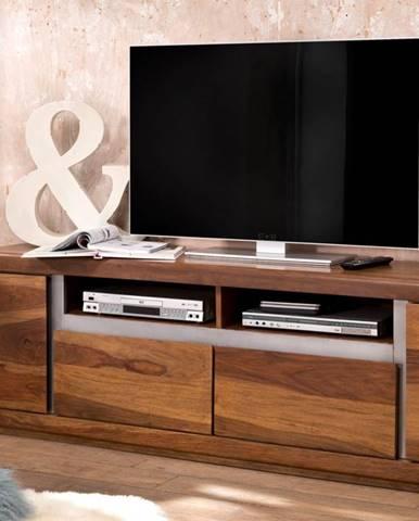 ROUND TV stolík 180x60 cm, hnedá, palisander