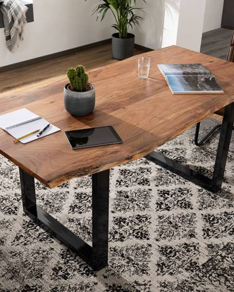 Bighome.sk METALL Jedálenský stôl s antracitovými nohami (lesklé) 140x90, akácia, prírodná