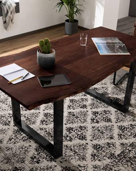 Bighome.sk METALL Jedálenský stôl s antracitovými nohami (lesklé) 180x90, akácia, hnedá