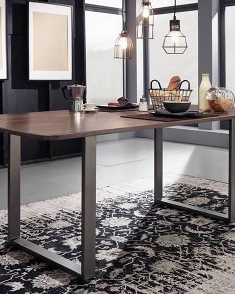 Bighome.sk ROUND Jedálenský stôl 200x100 cm – kovové nohy, dymová, palisander