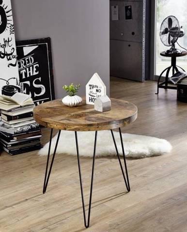 IRON Konferenčný stolík 60x60 cm, mango, prírodná