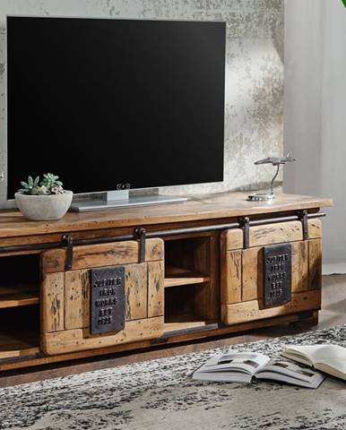 IRON TV stolík 160x50 cm, mango, prírodná