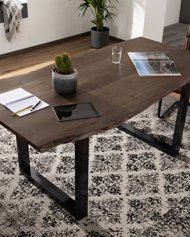 METALL Jedálenský stôl s antracitovými nohami (lesklé) 200x100, akácia, sivá