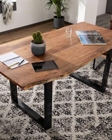 METALL Jedálenský stôl s antracitovými nohami (lesklé) 220x100, akácia, prírodná