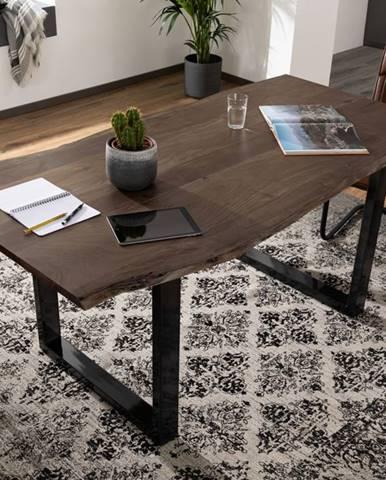 METALL Jedálenský stôl s antracitovými nohami (lesklé) 220x100, akácia, sivá