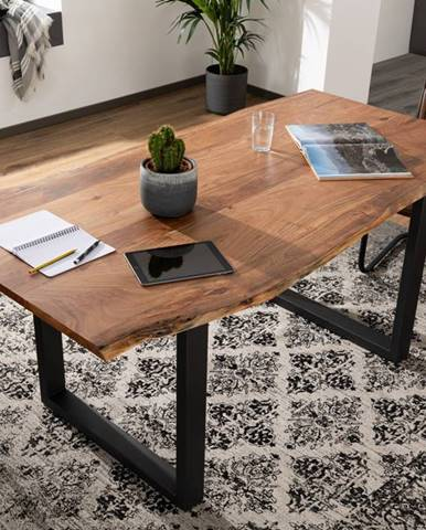METALL Jedálenský stôl s antracitovými nohami (matné) 180x90, akácia, prírodná