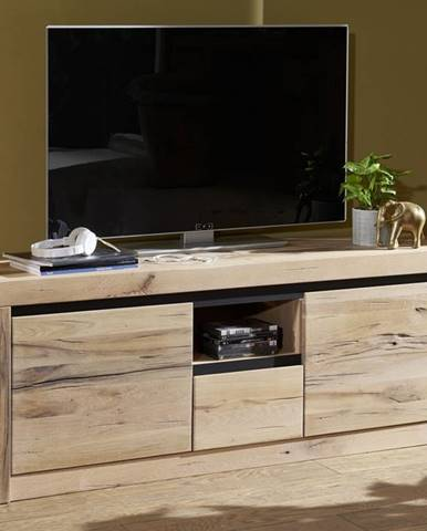 VEVEY TV stolík 155x60 cm, svetlohnedá, dub