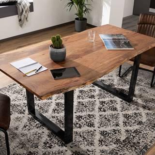 METALL Jedálenský stôl s antracitovými nohami (lesklé) 140x90, akácia, prírodná