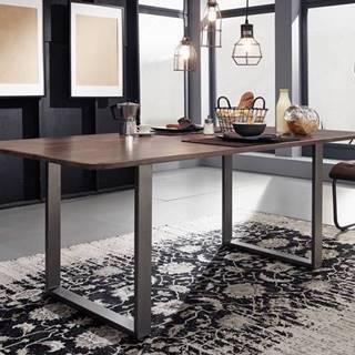 ROUND Jedálenský stôl 200x100 cm – kovové nohy, dymová, palisander