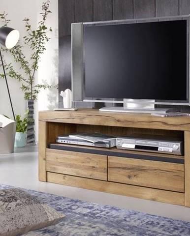VEVEY TV stolík 115x49 cm, tmavohnedá, dub