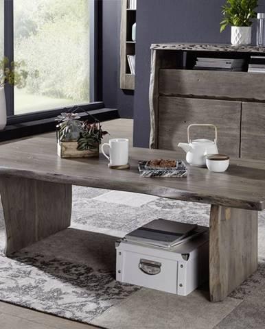 WOODLAND Konferenčný stolík 150x70 cm, sivá, akácia