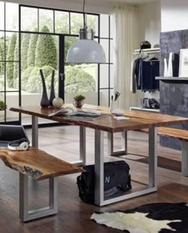 METALL Jedálenský stôl 160x100 cm, akácia