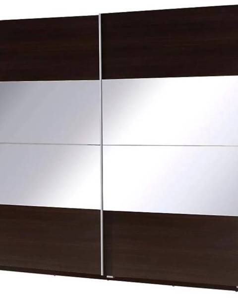 MERKURY MARKET Skriňa Twister 2 225 cm Gaštan wenge/zrkadlo