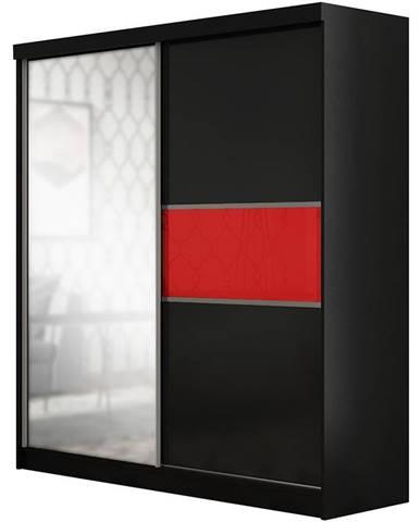 Skriňa Madera 150 cm čierna/červená