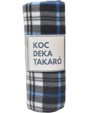 Flisová deka modro-biela mriežka 170x220
