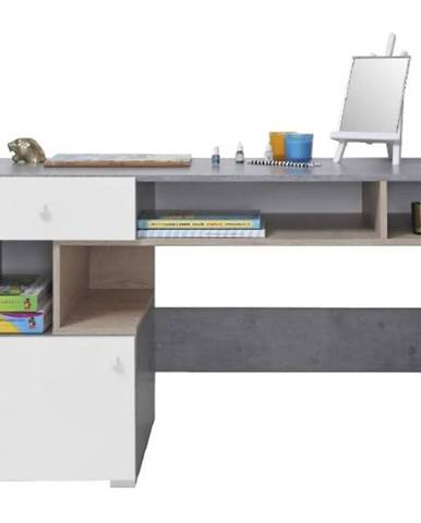Písací stôl Sigma betón/biela/dub 125 SI10