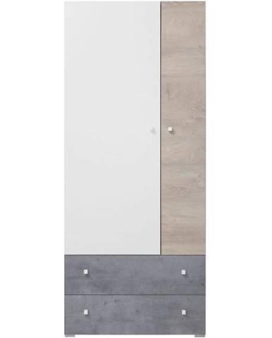 Skriňa Sigma betón/biela/dub 80 SI3