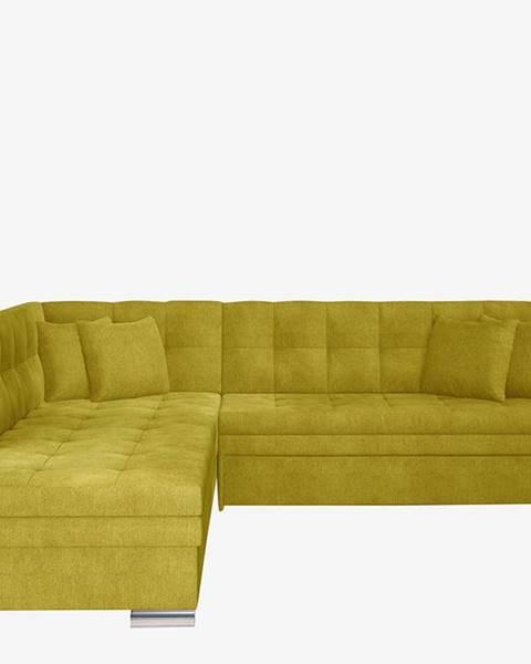 NABBI Pescara L rohová sedačka s rozkladom žltá