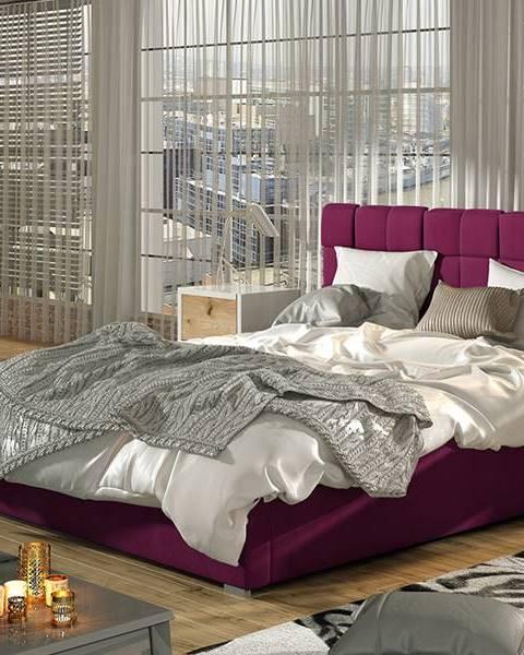 NABBI Galimo UP 160 čalúnená manželská posteľ s roštom vínová