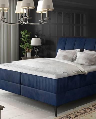 Altama 180 čalúnená manželská posteľ s úložným priestorom tmavomodrá