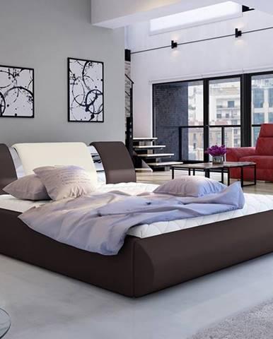 Folino 180 čalúnená manželská posteľ s roštom tmavohnedá