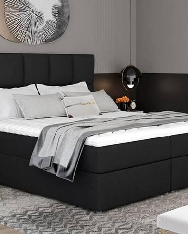 Grosio 165 čalúnená manželská posteľ s úložným priestorom čierna (Sawana 14)