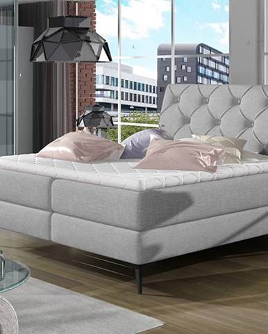 Lazio 180 čalúnená manželská posteľ s úložným priestorom svetlosivá
