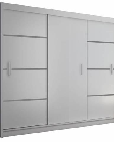 Merina 250 3D šatníková skriňa s posuvnými dverami biela