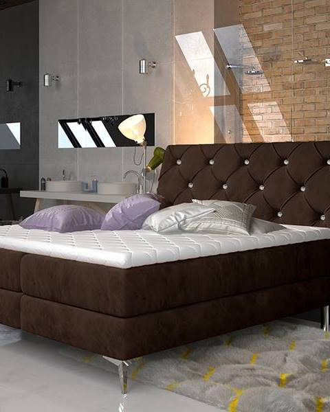 NABBI Amika 140 čalúnená manželská posteľ s úložným priestorom tmavohnedá