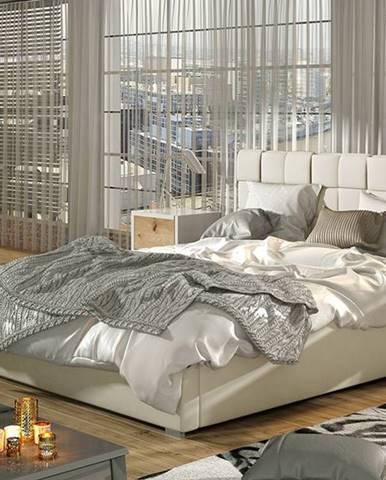Galimo 140 čalúnená manželská posteľ s roštom béžová