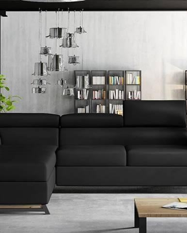 Korense L rohová sedačka s rozkladom a úložným priestorom čierna (Soft 11)