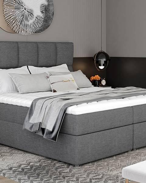 NABBI Grosio 145 čalúnená manželská posteľ s úložným priestorom sivá (Sawana 05)