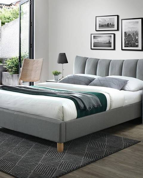 Halmar Sandy 2 160 čalúnená manželská posteľ s roštom sivá