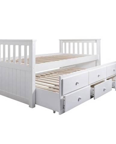 Austin New jednolôžková posteľ (váľanda) s prístelkou biela