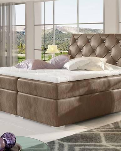 Beneto 160 čalúnená manželská posteľ s úložným priestorom hnedá