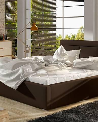 Branco UP 200 čalúnená manželská posteľ s roštom tmavohnedá (Soft 66)