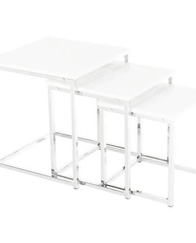 Enisol Typ 3 konferenčný stolík (3 ks) biely vysoký lesk