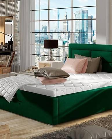 Rovigo 200 čalúnená manželská posteľ s roštom tmavozelená