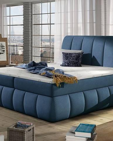 Vareso 160 čalúnená manželská posteľ s úložným priestorom modrá (Orinoco 80)