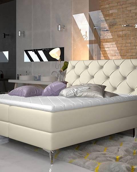 NABBI Amika 140 čalúnená manželská posteľ s úložným priestorom béžová
