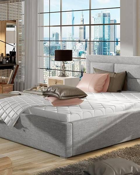 NABBI Rovigo UP 180 čalúnená manželská posteľ s roštom svetlosivá (Sawana 21)