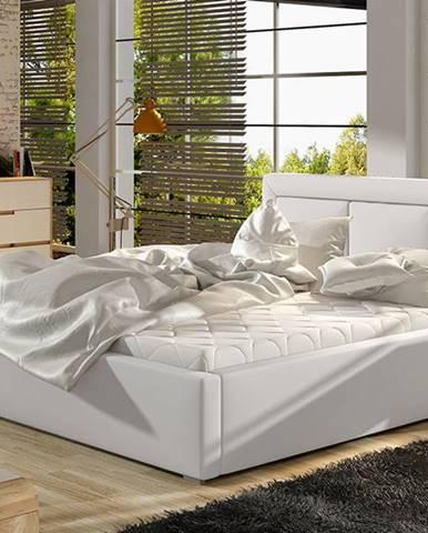 Branco 140 čalúnená manželská posteľ s roštom biela