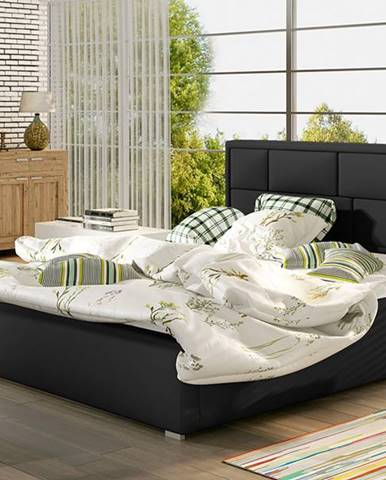 Liza 140 čalúnená manželská posteľ s roštom čierna