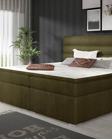 Spezia 160 čalúnená manželská posteľ s úložným priestorom khaki