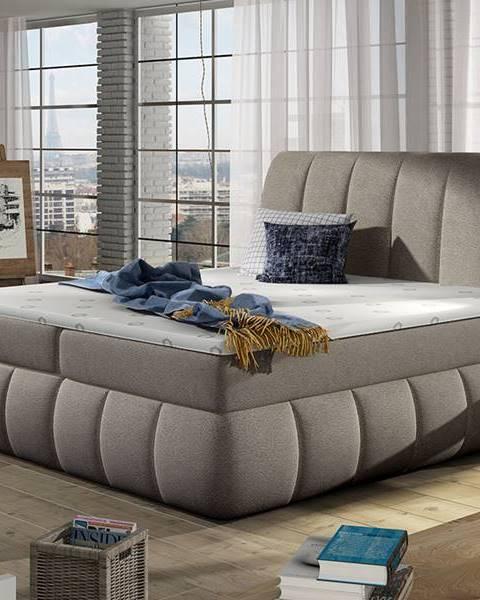 NABBI Vareso 180 čalúnená manželská posteľ s úložným priestorom svetlohnedá (Dora 22)