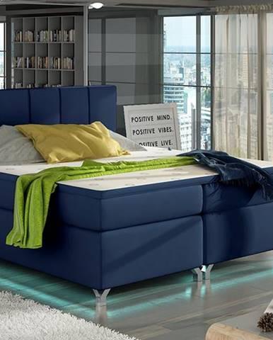 Barino 160 čalúnená manželská posteľ s úložným priestorom modrá