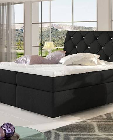 Beneto 140 čalúnená manželská posteľ s úložným priestorom čierna (Sawana 14)
