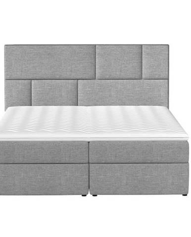 Ferine 165 čalúnená manželská posteľ s úložným priestorom svetlosivá