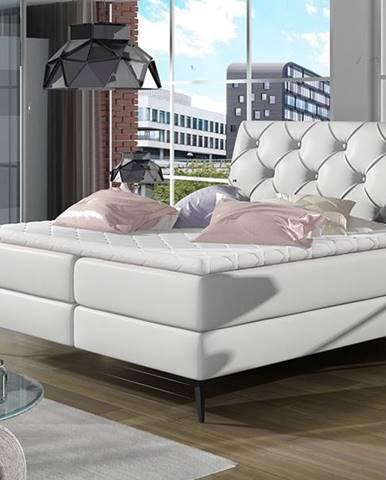 Lazio 140 čalúnená manželská posteľ s úložným priestorom biela