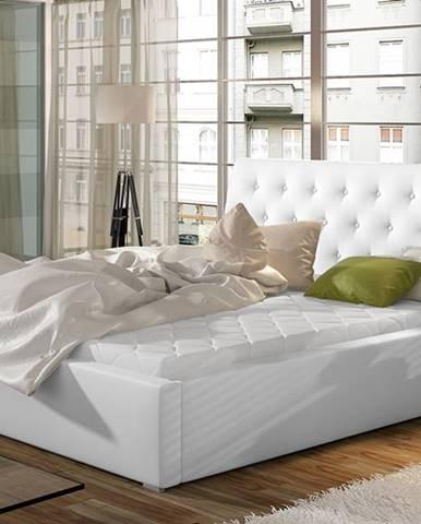 Monzo 160 čalúnená manželská posteľ s roštom biela